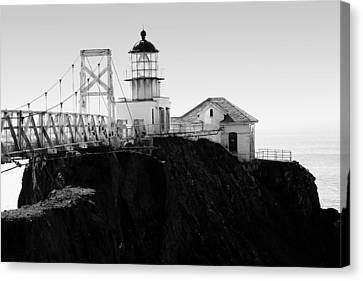 Point Bonita Lighthouse In The Marin Headlands . Black And White Canvas Print