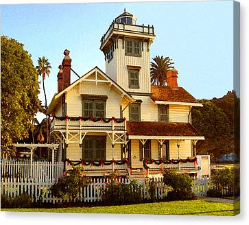 Canvas Print featuring the digital art Point Fermin Lighthouse II by Timothy Bulone