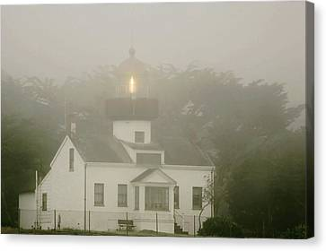 Point Pinos Lighthouse In A Foggy Night - Pacific Grove Monterey Central Ca Canvas Print by Christine Till
