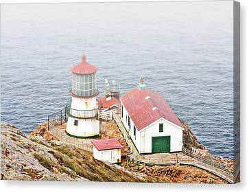 Famous Buildings Canvas Print - Point Reyes Lighthouse At Point Reyes National Seashore Ca by Christine Till