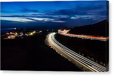 Point Vincente Light Trails Canvas Print by Ed Clark