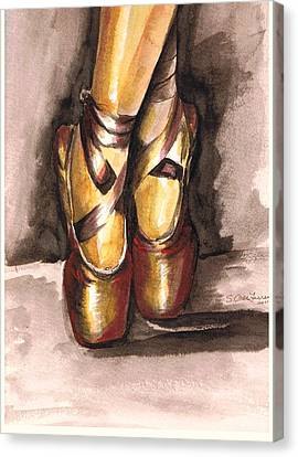 Pointe En Red Canvas Print by Sarah Farren