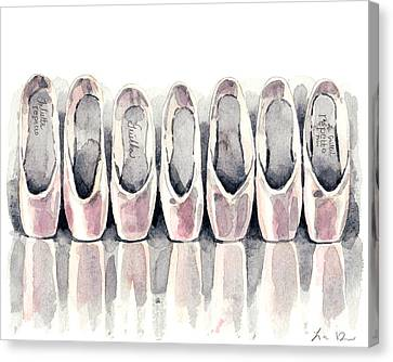 Pointe Shoe Collection Canvas Print by Laura Row