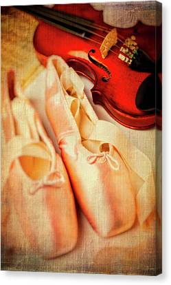 Pointe Shoes And Violin Canvas Print by Garry Gay