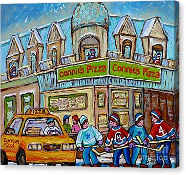 Pointe St Charles Paintings Hockey Game At Connie's Pizza With Yellow Delivery Cab Montreal Art Canvas Print by Carole Spandau
