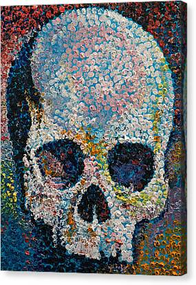 Goth Canvas Print - Pointillism Skull by Michael Creese