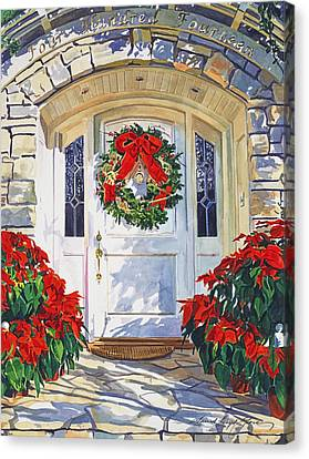 Pointsettia House Canvas Print by David Lloyd Glover