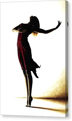 Red Dress Canvas Print - Poise In Silhouette by Richard Young