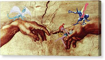 Canvas Print featuring the digital art Pokeangelo Sistine Chapel by Greg Sharpe