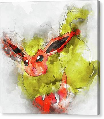Portrait Canvas Print - Pokemon Flareon Abstract Portrait - By Diana Van by Diana Van