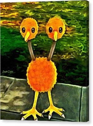 Green Apples Canvas Print - Pokemon Go Doduo - Da by Leonardo Digenio