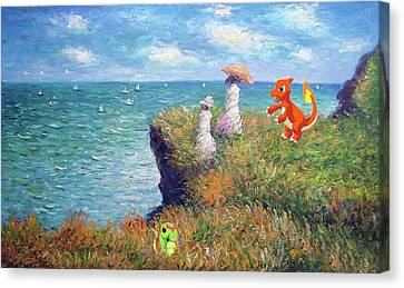 Canvas Print featuring the digital art Pokemonet Seaside by Greg Sharpe