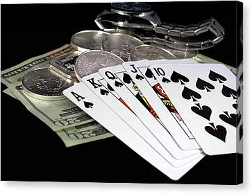 Poker - The Winning Hand Canvas Print by Lynnette Johns