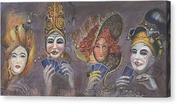 Canvas Print featuring the painting Poker Game Faces by Nik Helbig