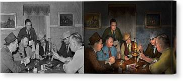 Poker - Poker Face 1939 - Side By Side Canvas Print by Mike Savad