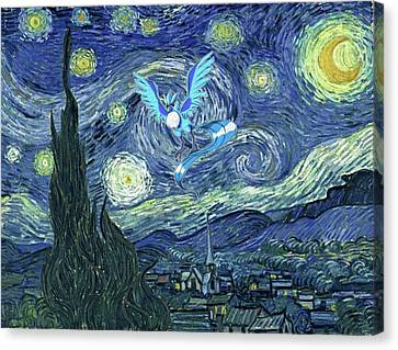 Canvas Print featuring the digital art Pokevangogh Starry Night by Greg Sharpe