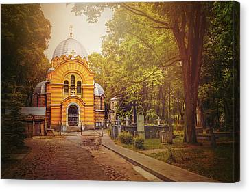 Orthodox Canvas Print - Pokrov Cemetery And Orthodox Church Riga Latvia  by Carol Japp