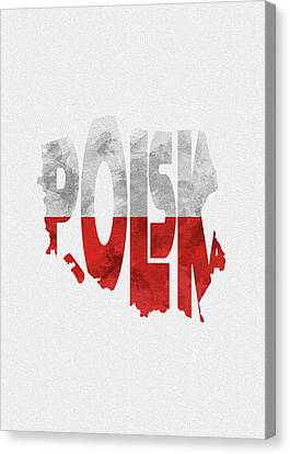 Dirty Canvas Print - Poland Typographic Map Flag by Inspirowl Design