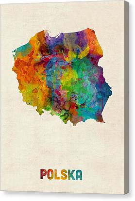 Poland Watercolor Map Canvas Print by Michael Tompsett