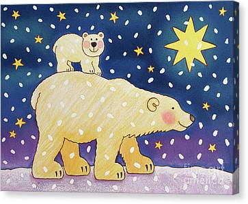 Snowy Night Night Canvas Print - Polar Back Ride by Cathy Baxter