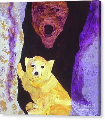 Canvas Print featuring the painting Cave Bear With Cub by Donald J Ryker III