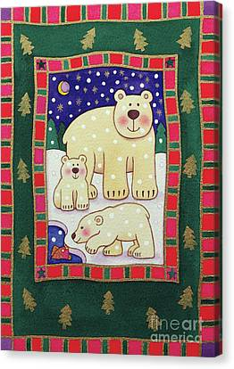 Christmas Cards Canvas Print - Polar Bear And Cubs by Cathy Baxter