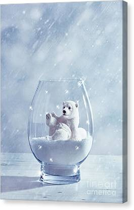 Christmas Cards Canvas Print - Polar Bear In Snow Globe by Amanda Elwell