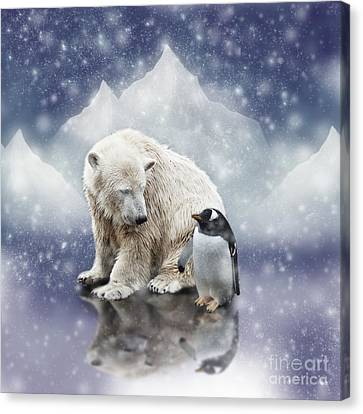 Polar Bear Meets Penguin Canvas Print
