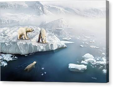 Canvas Print featuring the digital art Polar Bears by Thanh Thuy Nguyen