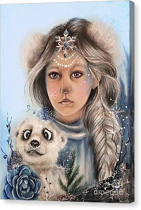 Canvas Print featuring the drawing Polar Precious  by Sheena Pike