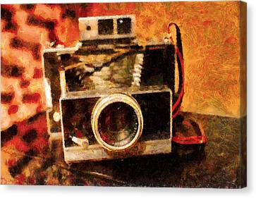 Polaroid Land Camera Model 100 . Painterly . 7d13289 Canvas Print by Wingsdomain Art and Photography