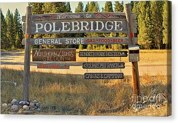 Polebrdge Welcome Sign Canvas Print by Adam Jewell