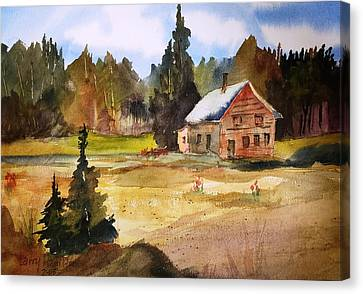 Polebridge Mt Cabin Canvas Print by Larry Hamilton