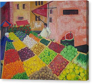 Polermo Street Market Canvas Print by Lore Rossi