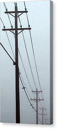 Poles In Fog - View On Left Canvas Print by Tony Grider