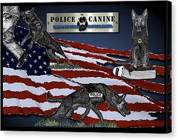 Police Canine Collage Canvas Print by Rose Borisow