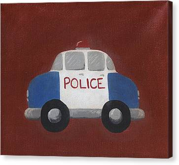 Police Car Nursery Art Canvas Print by Katie Carlsruh
