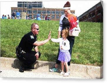 Police Community Relations Canvas Print - Police High Five by Bud Bartnik