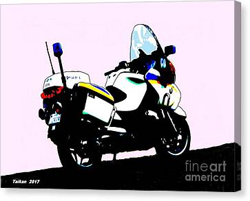 Police Motorcycle In Seoul By Taikan Canvas Print