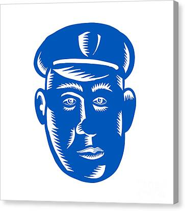 Police Officer Canvas Print - Police Officer Head Woodcut by Aloysius Patrimonio
