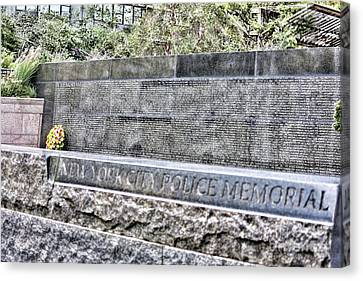 Police Officer Canvas Print - Police Officer Memorial Nyc  by Chuck Kuhn