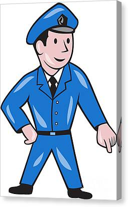 Police Officer Canvas Print - Police Officer Pointing Down Cartoon by Aloysius Patrimonio