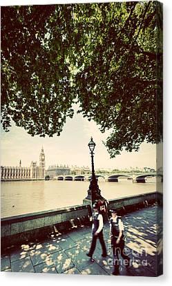 Police Officer Canvas Print - Police Officers Opposite To Big Ben In London Uk. Vintage Retro Style by Michal Bednarek
