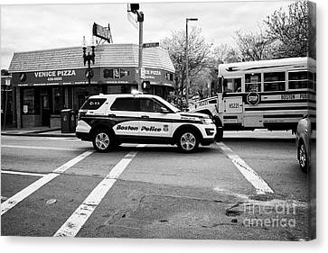 police police ford interceptor suv patrol vehicle on call Boston USA Canvas Print