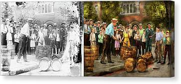 Police - Prohibition - A Smashing Good Time 1921 - Side By Side Canvas Print by Mike Savad