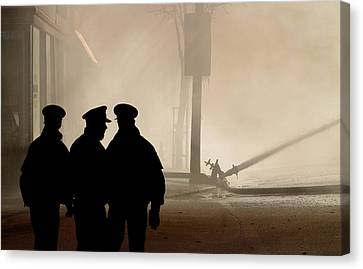 Police Watching Firefighters During Moose Jaw New Years Fire Canvas Print