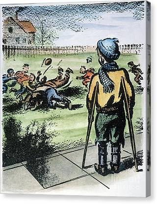 Crutch Canvas Print - Polio Cartoon, 1957 by Granger