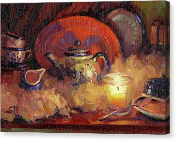 Candle Lit Canvas Print - Polish Pottery  by Steve Henderson