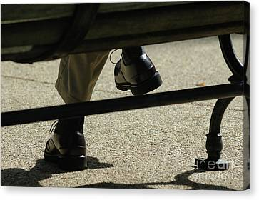 Polished Shoes On Bench Canvas Print