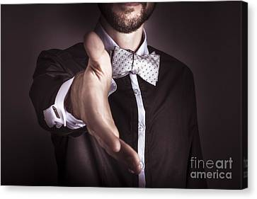 Polite Sophisticated Man Offering His Hand Canvas Print by Jorgo Photography - Wall Art Gallery